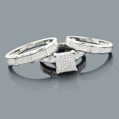 Sterling Silver Diamond Trio Ring Set 0.37ct