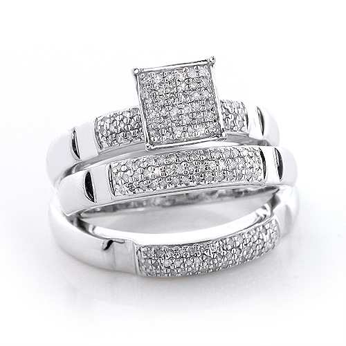 Sterling Silver Diamond Trio Ring Set 0.72ct