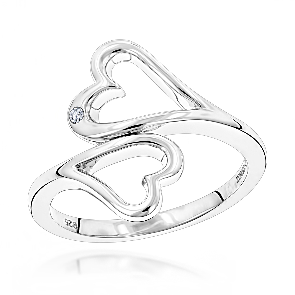 Sterling Silver Double Open Hearts Diamond Ring Luxurman Love Quotes Main Image