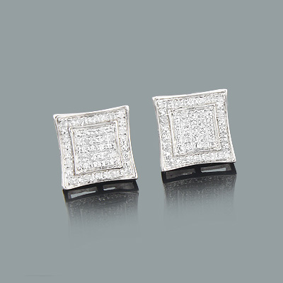 Sterling Silver Earrings with Diamonds 0.14ct