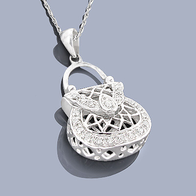 Sterling Silver Handbag Pendants: Diamond Purse Pendant Main Image