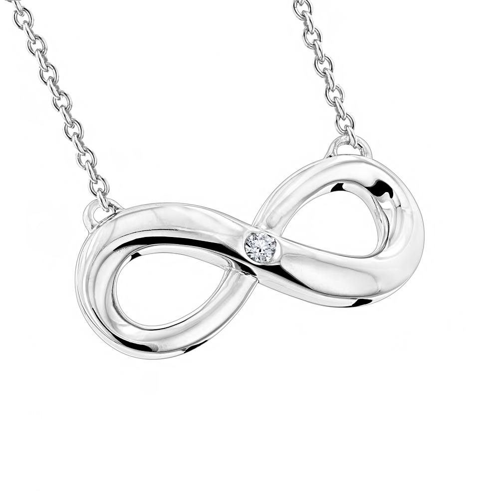 Sterling Silver Infinity Diamond Pendant Luxurman Love Quotes Necklaces Main Image