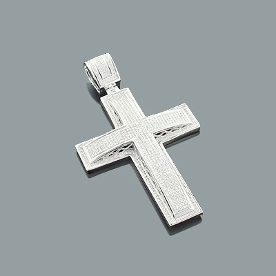 Sterling Silver Mens Diamond Cross Pendant 1.67ct Main Image