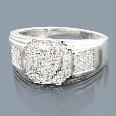 Sterling Silver Mens Diamond Ring 0.36ct