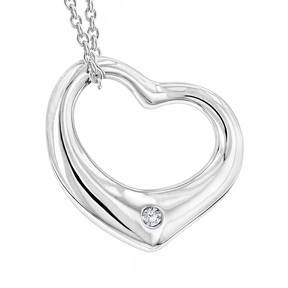 Sterling Silver Open Heart Diamond Necklace with Chain Luxurman Love Quotes Main Image