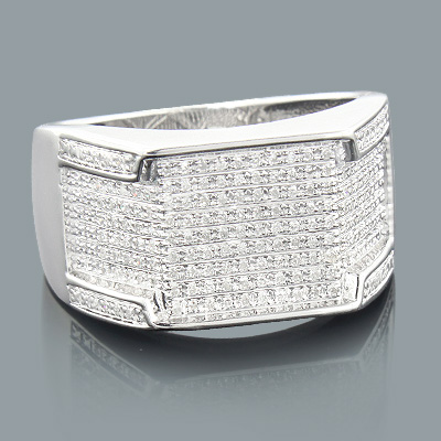 Sterling Silver Rings: Mens Diamond Ring 0.39ct