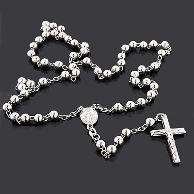 Sterling Silver Rosary Bead Necklace Main Image