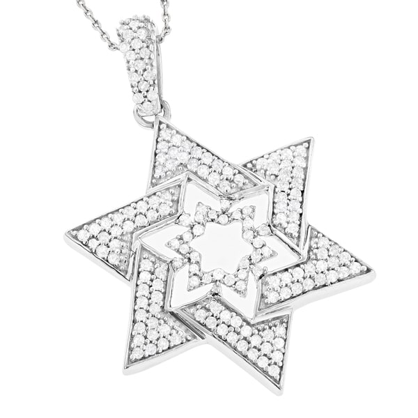 Sterling Silver Star of David Diamond Pendant 0.53ct Main Image