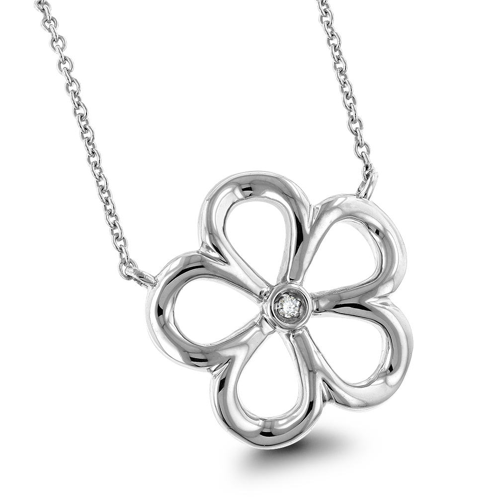 Sterling Silver Womens Diamond Flower Necklace Luxurman Love Quotes