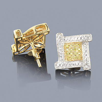 Sterling Silver Yellow Diamond Earrings 0.30ct Main Image