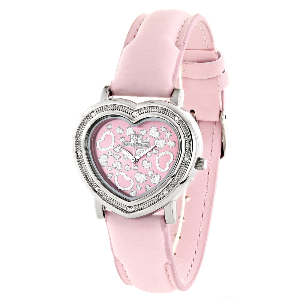 Super Techno Pink Heart Diamond Watch For Women 0.08ct