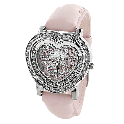 Super Techno Watches: Womens Heart Shaped Pink Watch 0.08ct Main Image