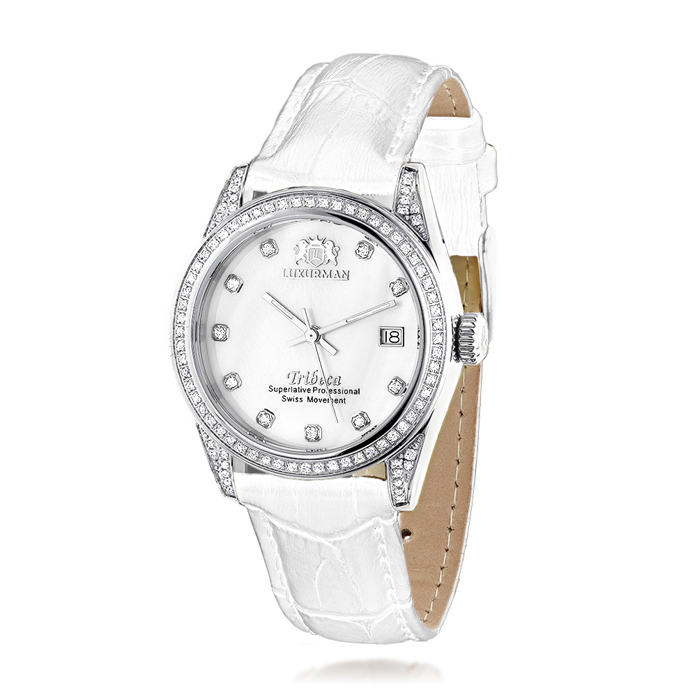Luxurman Tribeca Womens Diamond Swiss Quartz Watch Stainless Steel 1.5ct Main Image