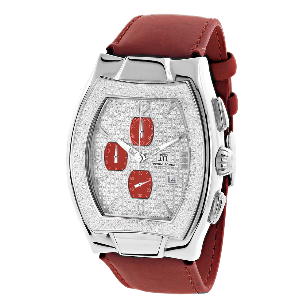 Techno Mania Men's Diamond Watch Chronograph Red Subdials 0.3 carats