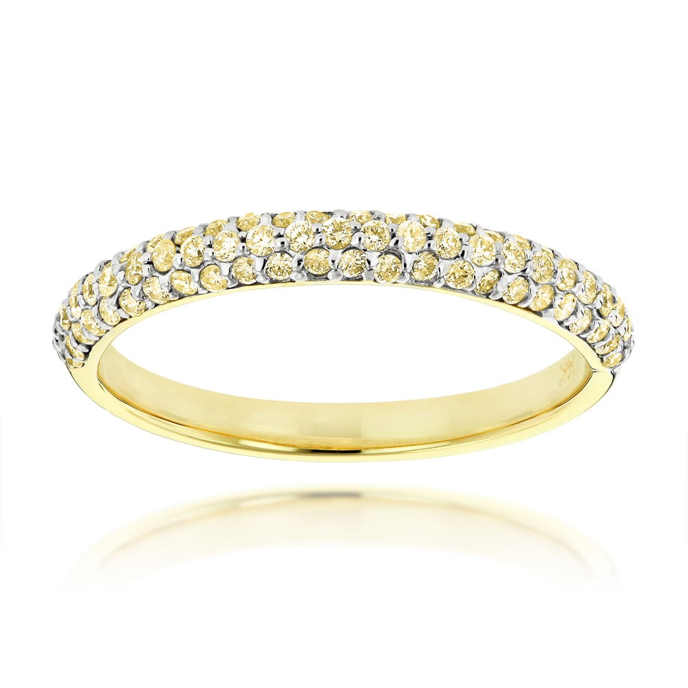 Thin 14K Gold Womens Yellow Diamond Band Pave Diamonds 0.7ct
