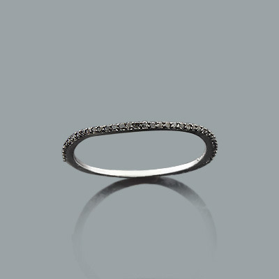 Stackable Rings Thin Black Diamond Band for Women 0.15ct