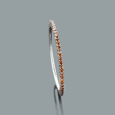 Thin Red Diamond Band in 14K Gold 0.16ct Stackable