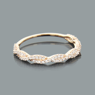 Thin Stackable Designer Diamond Ring 0.28ct 14K Gold