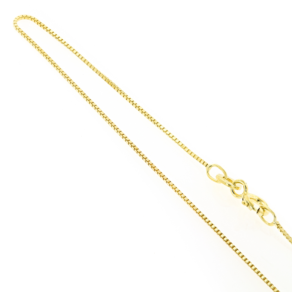 Thin Womens Sterling Silver Yellow Gold Plated Box Chain 18in