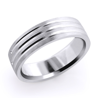 Three Lines Mens Wedding Band 14K Solid Gold