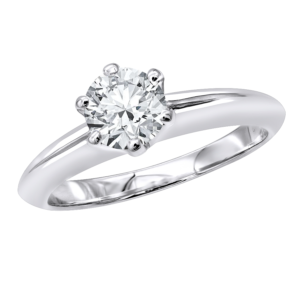 Tiffany Style Round Diamond Solitaire Engagement Ring in 18k Gold 0.75ct White Image
