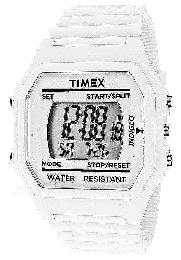 Timex Watches: Multi-Function Grey Digital Dial White Saturn Rubber 2N243