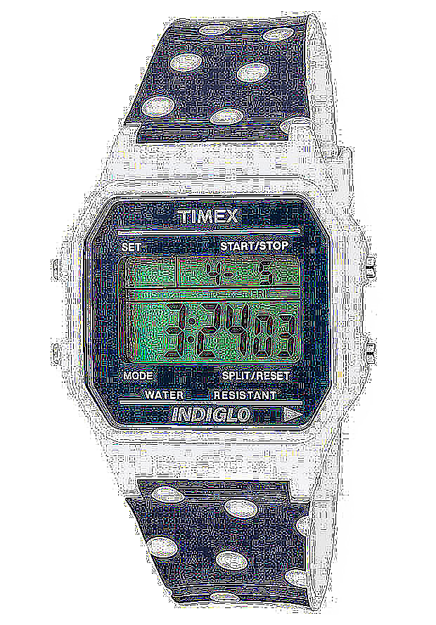Timex Watches: Women's Multi-Function Grey Digital Dial White Dot Ocean Resin 2N380