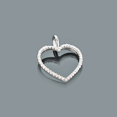 Tiny Diamond Heart Pendant 0.17ct 10K Gold Charm Main Image