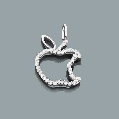 Tiny Diamond Pendants: Gold Apple Charm 0.15ct 10K Charm