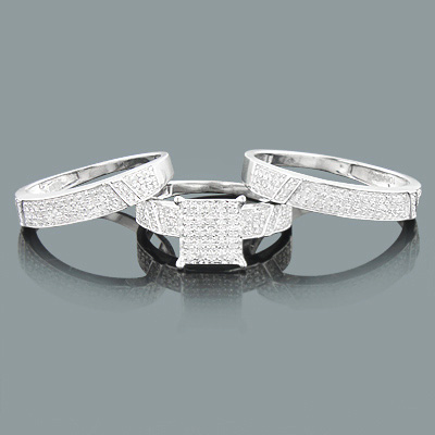 Trio Set Diamond Engagement Matching Bands 0.83ct 10K Gold