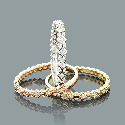 Ultra Thin Trio Stackable Diamond Ring Set 0.34ct 14K Gold Main Image