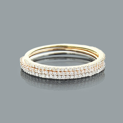 Ultra Thin Trio Stackable Diamond Ring Set 0.42ct 14K Gold Main Image