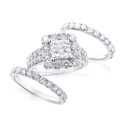 Trio Wedding Ring Sets: 14K Gold Diamond Ring Set 4.63ct