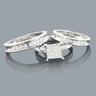 Trio Wedding Ring Sets: Diamond Band Set 0.92ct 14K Main Image