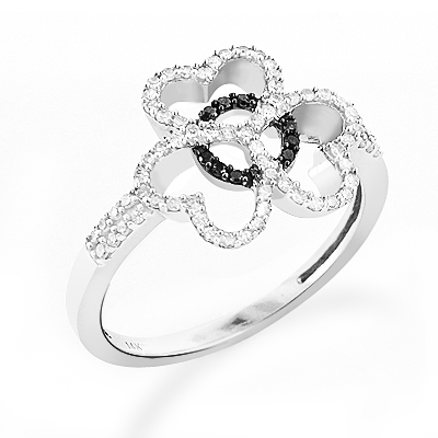 Triple Heart Ring With Black and White Diamonds 0.26ct 14K Gold