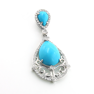 Turquoise Gem Teardrop Pendant with Diamonds 0.45ct 14K Gold