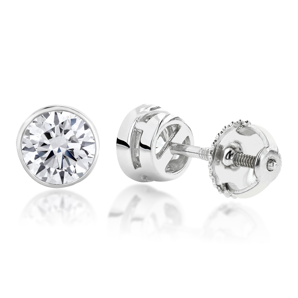 Two Carat 14K Gold Solitaire Round Diamond Bezel Stud Earrings White Image