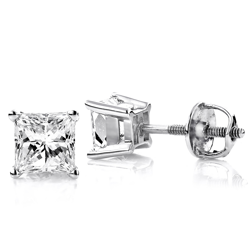 Two Carat 18K Gold Solitaire Princess Cut Diamond Stud Earrings