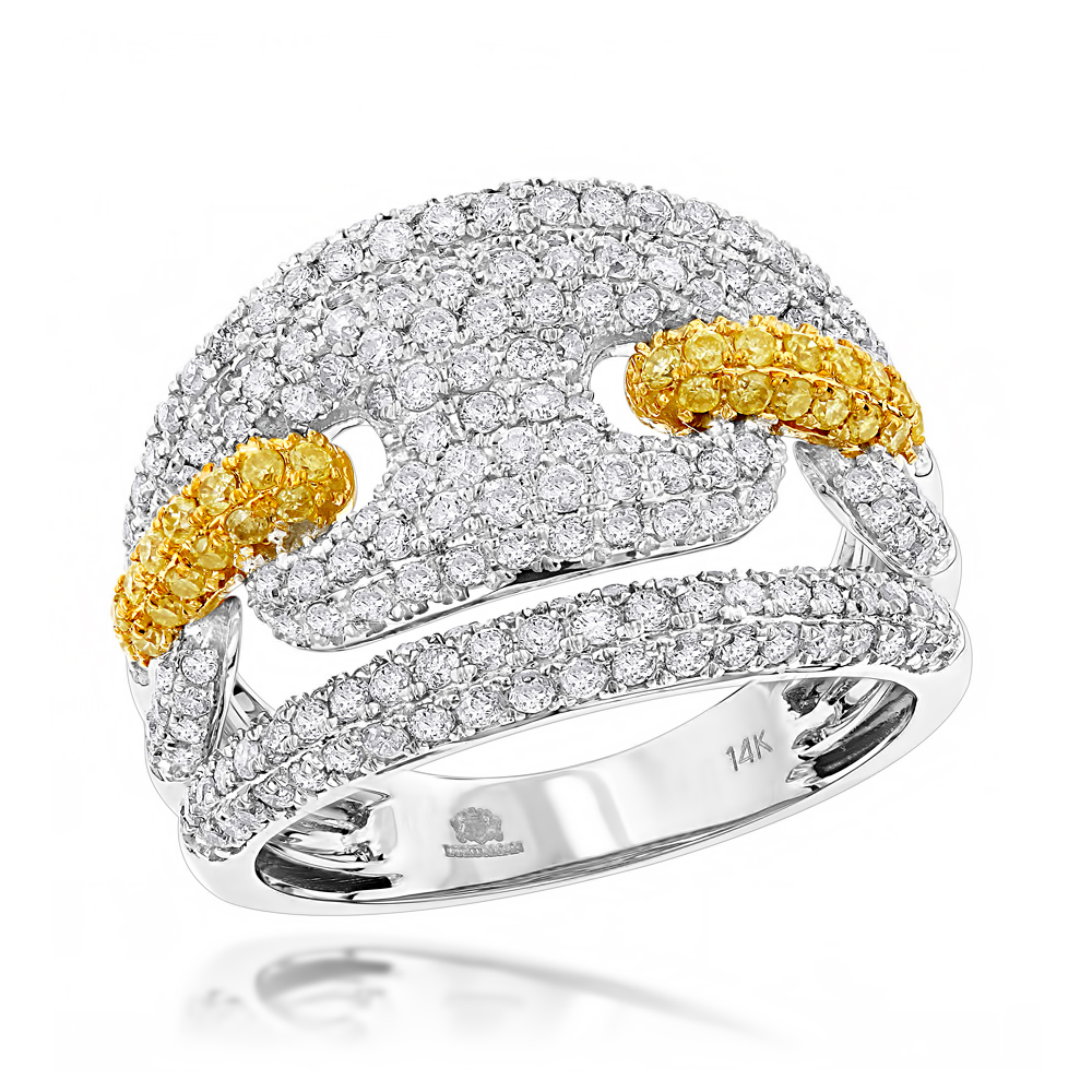 Two Carat Gucci Diamond Link Cocktail Ring for Women 14K Gold White Image