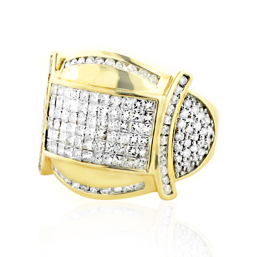 Two Carat Round & Princess Cut Mens Diamond Ring 14k Gold Main Image