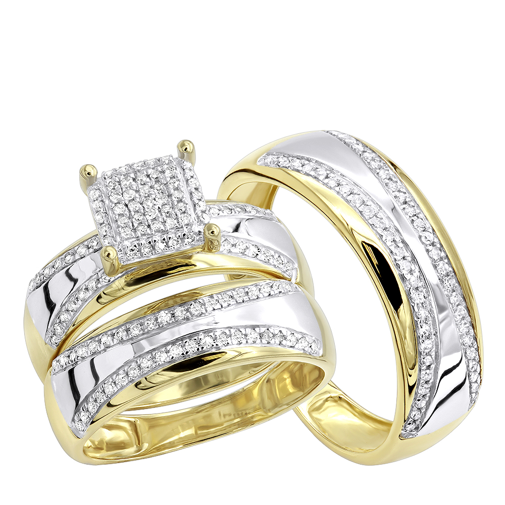 Two Tone 10k Gold Wedding Band and Engagement Ring Set Round Diamonds in Square Bridal Set Yellow Image