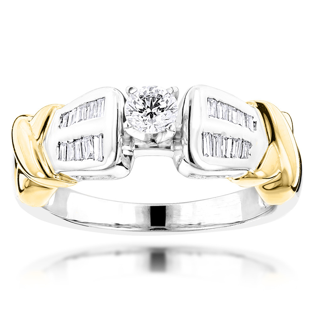 Affordable Two Tone 14K White Yellow Gold Diamond Engagement Ring 0.78ct White Yellow Image