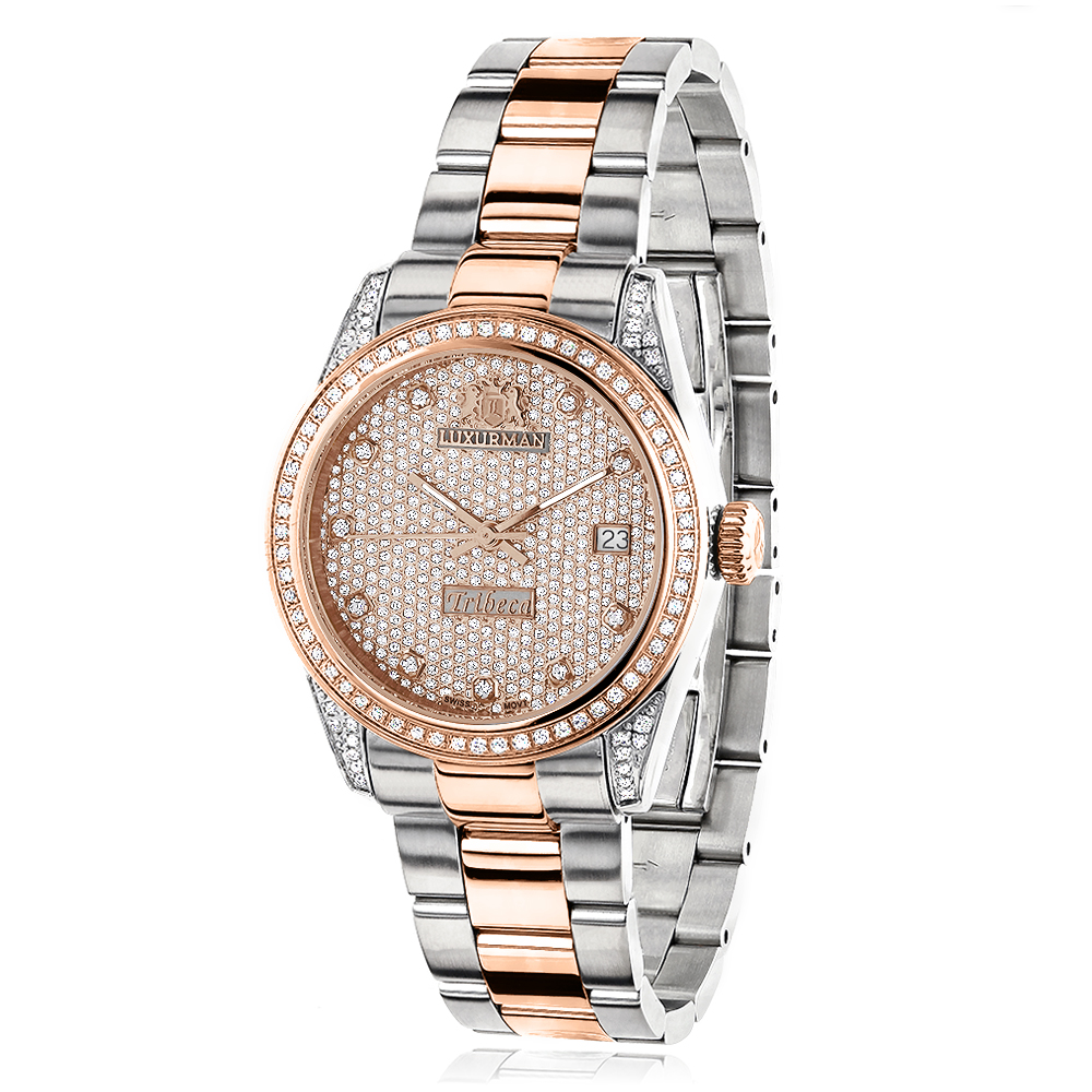 Two Tone Rose Gold Plated Women's Diamond Watch 1.5ct Luxurman Tribeca Main Image
