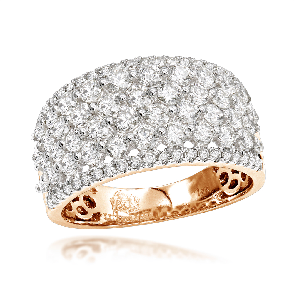 Uniqe Luxurman Bands: 14K Gold Wide Diamond Ring for Women 2 Carat Rose Image