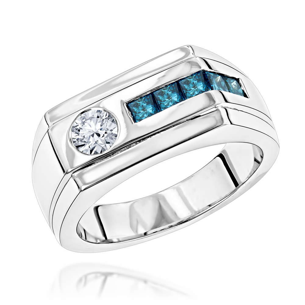 Unique 1 Carat White and Blue Diamonds Ring for Men in 14K Gold by Luxurman White Image