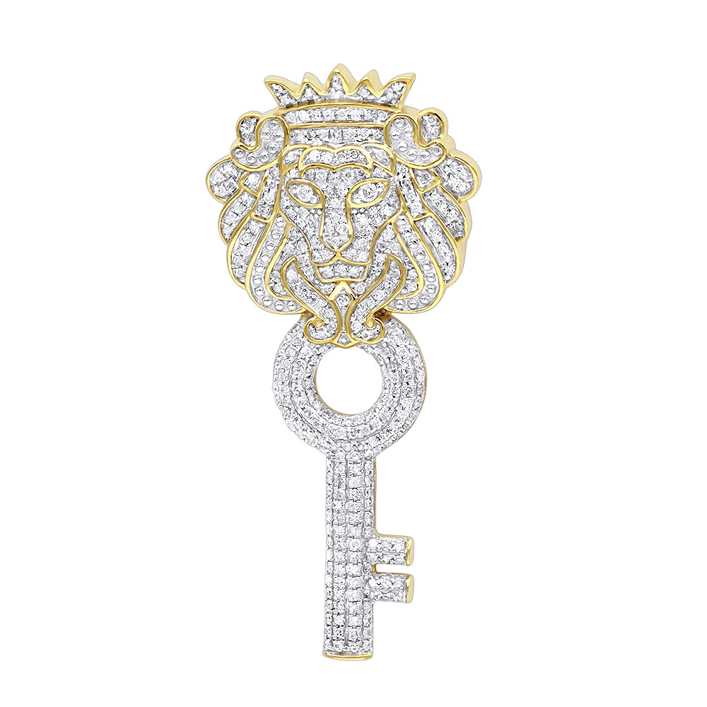 Unique 10k gold diamond king lion head pendant with key for men 1 carat aloadofball Choice Image