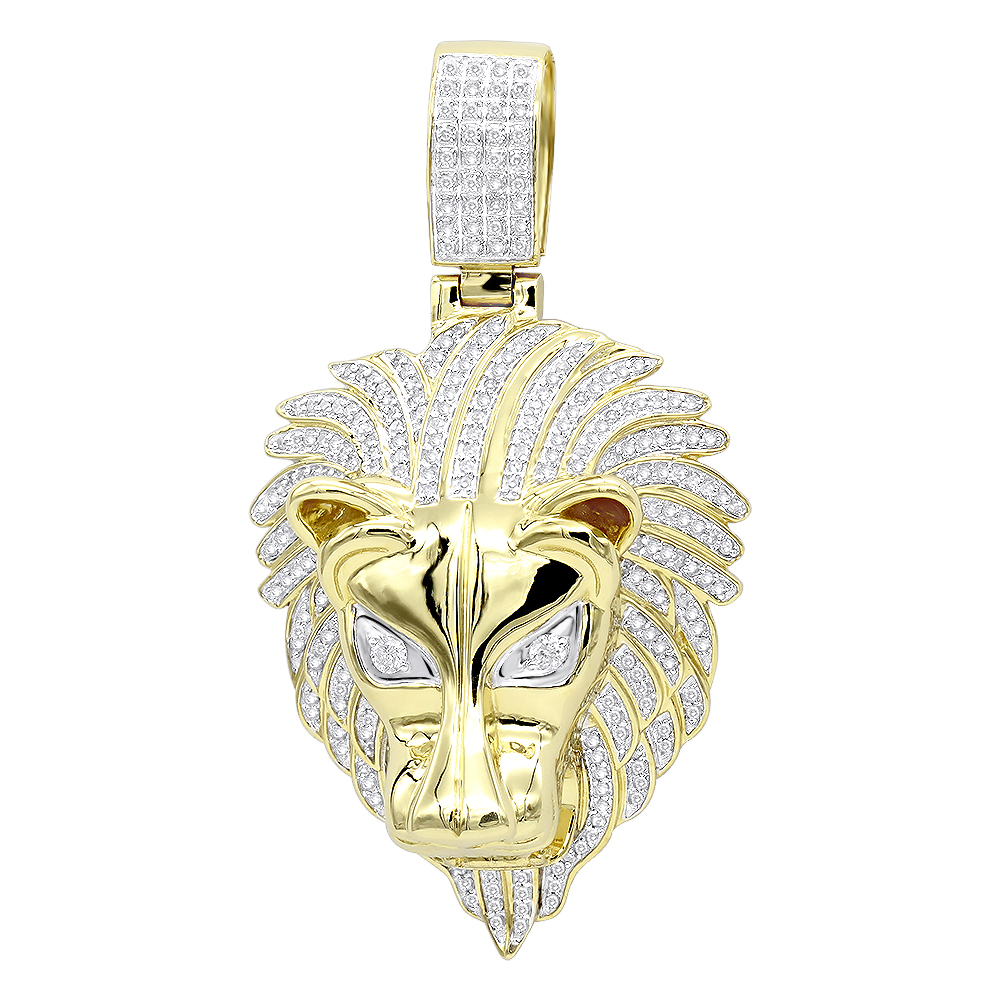 Unique 10k gold lion head diamond pendant for men 09ct by luxurman aloadofball Choice Image