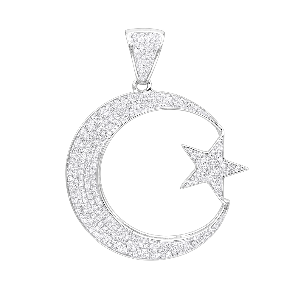 Unique 10K Gold Star and Crescent Moon Diamond Pendant 0.8ct by Luxurman White Image