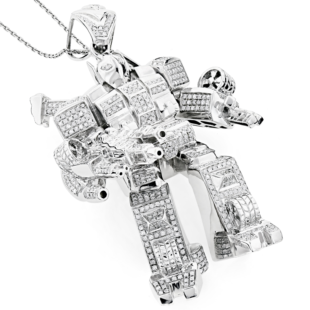 Unique 10K Gold Transformer Diamond Pendant 2.50ct White Image