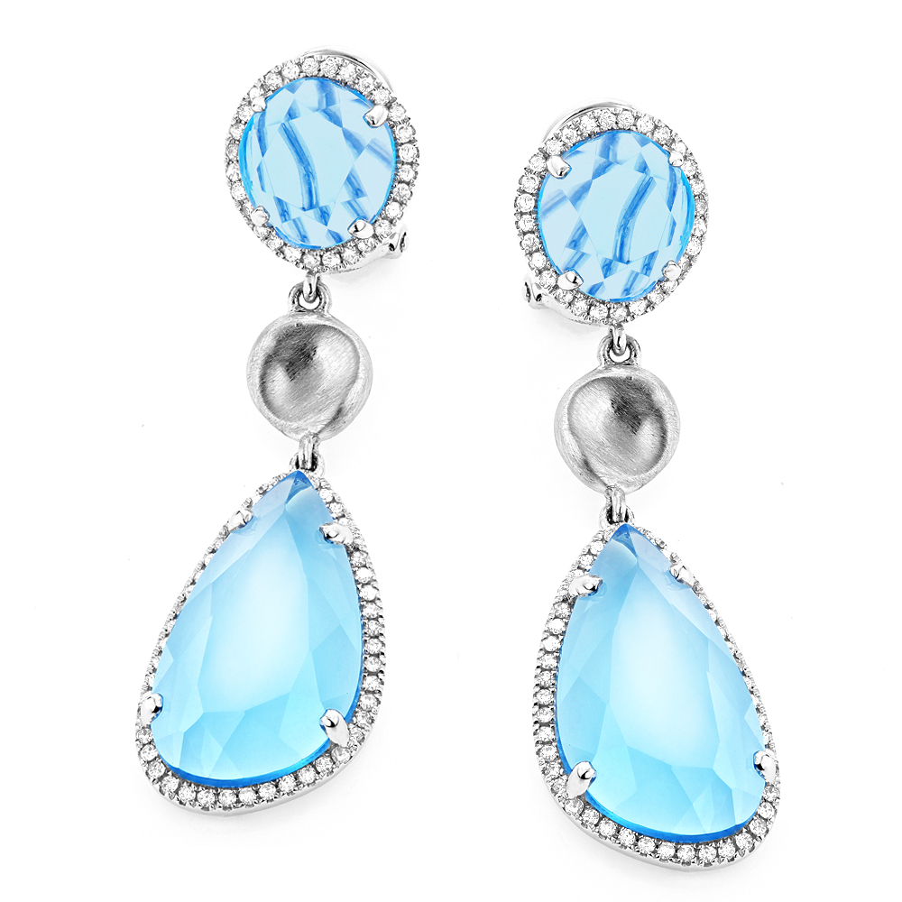 Unique 14K Blue Topaz Ladies Diamond Drop Earrings 0.64ct Main Image